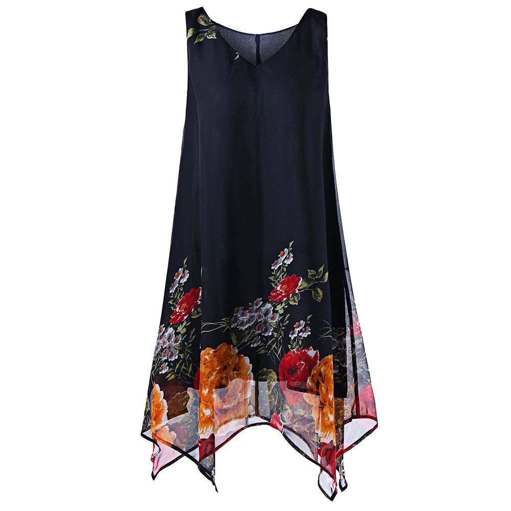 Plus Size V Neck Floral Printed Knee Length Sleeveless Dress 3648