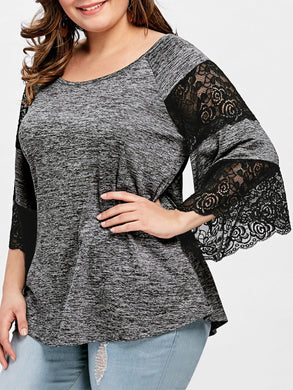 Big Size Flare Sleeve Lace Panel T shirt for Women 6358