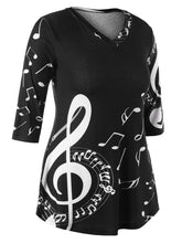 Load image into Gallery viewer, Three Quarter Sleeve V Neck Music Note T shirt for Women 6276