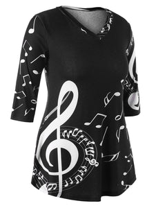 Three Quarter Sleeve V Neck Music Note T shirt for Women 6276