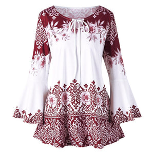 Flower Print Keyhole Neck Long Flare Sleeve Women T shirt 9089