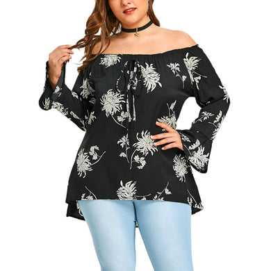Off the Shoulder Flower Printed Asymmetrical Long Sleeved Blouse 3437