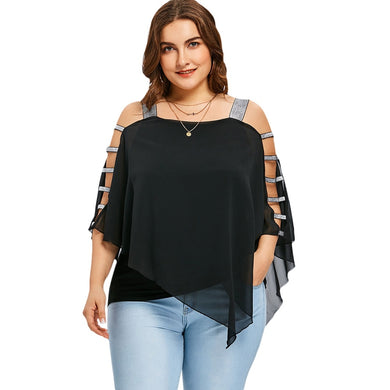 Three Quarter Sleeved Ladder Cut Out Women Blouse 4343