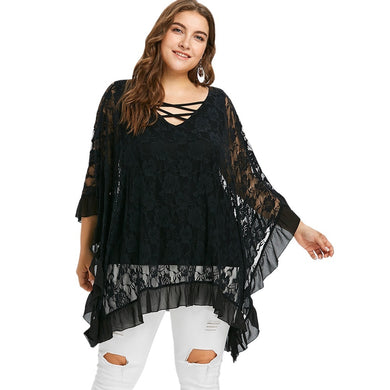 Floral Lace Three Quarter Butterfly Sleeve Women Blouse Black 8345