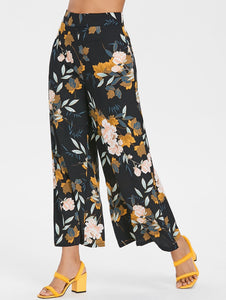High Waist Floral Print Women Wide Leg Pants 5362