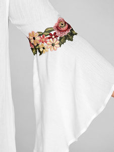 Off The Shoulder Floral Embroidery Bell Sleeve Women Blouse 6830