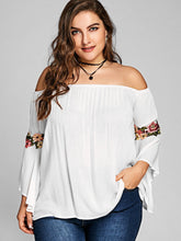Load image into Gallery viewer, Off The Shoulder Floral Embroidery Bell Sleeve Women Blouse 6830