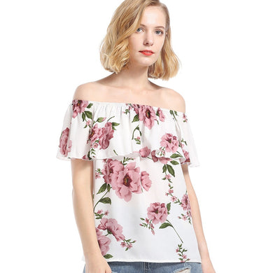 Off The Shoulder Floral Print Chiffon Short Sleeve Women Blouse 7736