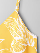 Load image into Gallery viewer, Yellow Tropical Printed Spaghetti Strap Cami Top for Women 8644