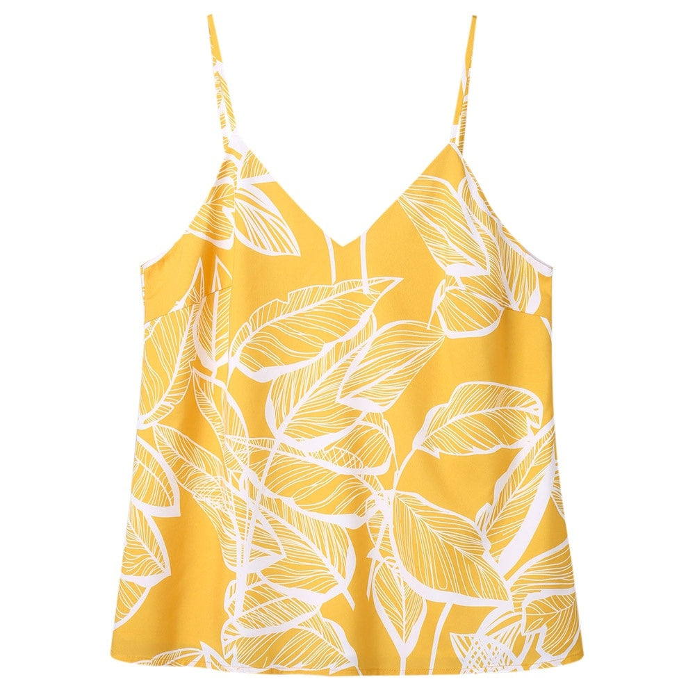 Yellow Tropical Printed Spaghetti Strap Cami Top for Women 8644
