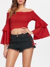 Load image into Gallery viewer, Bell Long Sleeve Shirred Crop Top for Women 4854