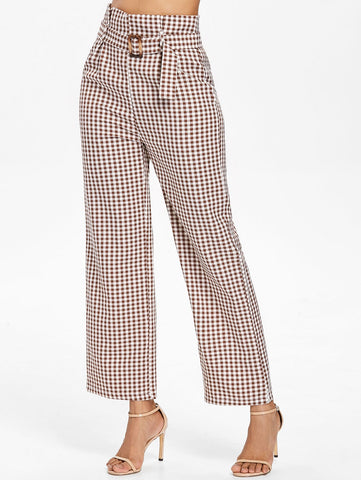 High Waisted Plaid Women Pants Belted 9521
