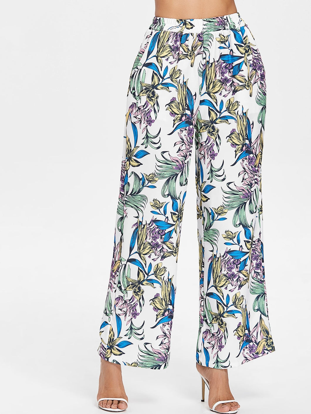 High Elastic Waist Flower Printed Wide Leg Trousers 6448
