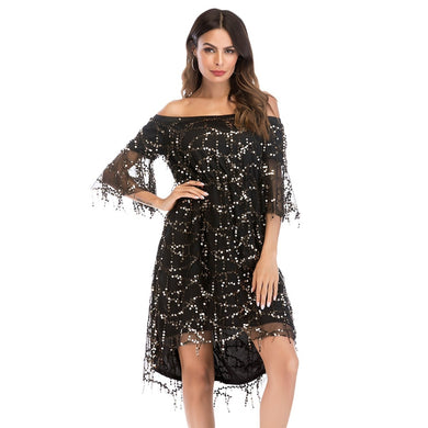 Off the Shoulder Sequin Strapless Half Sleeves Women Dress 8089