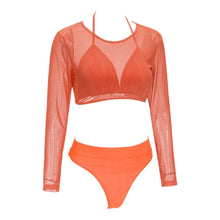 Load image into Gallery viewer, Elastic Mesh Mid Waist Women Bikini Three piece Swimsuit 3332