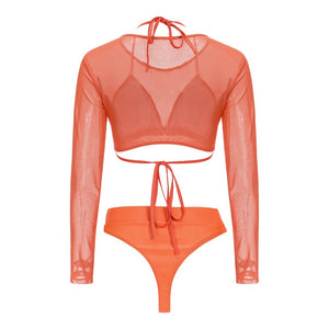 Elastic Mesh Mid Waist Women Bikini Three piece Swimsuit 3332