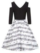Load image into Gallery viewer, Cold Shoulder V Neck Music Note Printed Long Sleeves Women Dress 7516