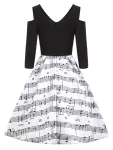 Cold Shoulder V Neck Music Note Printed Long Sleeves Women Dress 7516