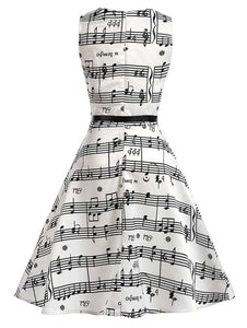 Sleeveless Music Note Printed Swing Dress for Women 3331