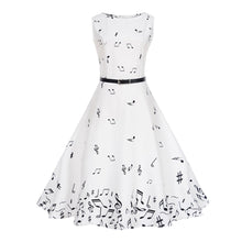 Load image into Gallery viewer, Boat Neck Music Note Printed Belted Sleeveless Women Dress 8143