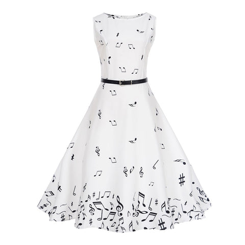 Boat Neck Music Note Printed Belted Sleeveless Women Dress 8143
