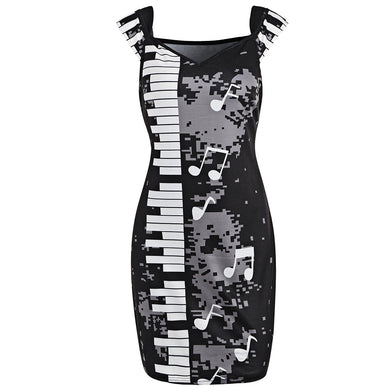 Music Note Printed Women Short Sleeves Bodycon Dress 6365