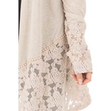 Load image into Gallery viewer, Shawl Collar Lace Long Sleeve Women Cardigan Plus Size 7756