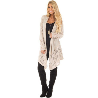 Shawl Collar Lace Long Sleeve Women Cardigan Plus Size 7756
