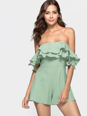 Ruffle Off The Shoulder Short Sleeves Women Romper 3970