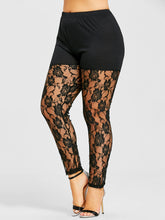 Load image into Gallery viewer, Flower Mesh Lace Plus Size Women Leggings 6599