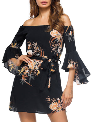 Off The Shoulder Bell Sleeve Floral Printed Women Mini Dress with Belt 2833