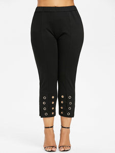 High Waist Grommet Pencil Pants 6097