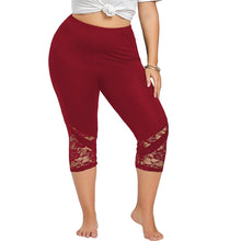 Load image into Gallery viewer, High Waist Lace Panel Capri Skinny Leggings 3384