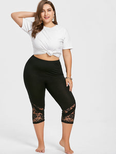 High Waist Lace Panel Capri Skinny Leggings 3384