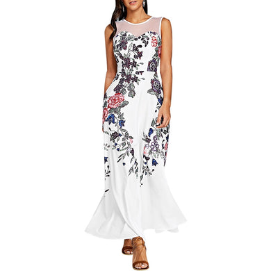 Floral Printed Sleeveless Mesh Maxi Dress for Women 3851