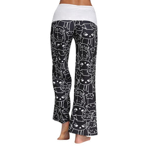 Cat Printed Drawstring Women Wide Leg Pants 1844