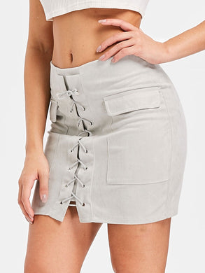 Cross Straps Faux Suede Mini Skirt for Women 3759