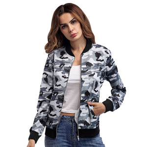 Stand Collar Camouflage Long Sleeve Zippered Women Jacket with Pocket 5393
