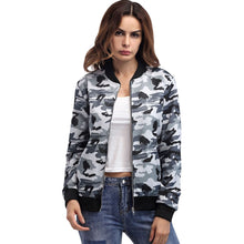 Load image into Gallery viewer, Stand Collar Camouflage Long Sleeve Zippered Women Jacket with Pocket 5393