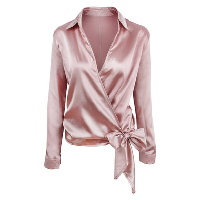 Turn down Collar V Neck Long Sleeved Tied Bowknot Pink Women Blouse 8504