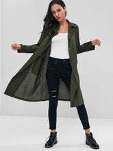 Load image into Gallery viewer, Lapel Collar Linen Trench Coat with Pockets for Women 4761