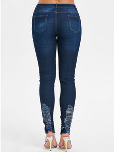 Hollow Out Floral Embroidery Frayed Edge Skinny Jeans for Women 9245