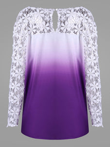V Neck Plus Size Lace Long Sleeve Yoke Ombre Top 7497