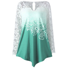 Load image into Gallery viewer, V Neck Plus Size Lace Long Sleeve Yoke Ombre Top 7497