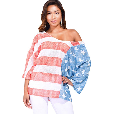 American Flag Print Three Quarter Sleeve Women T shirt 1936