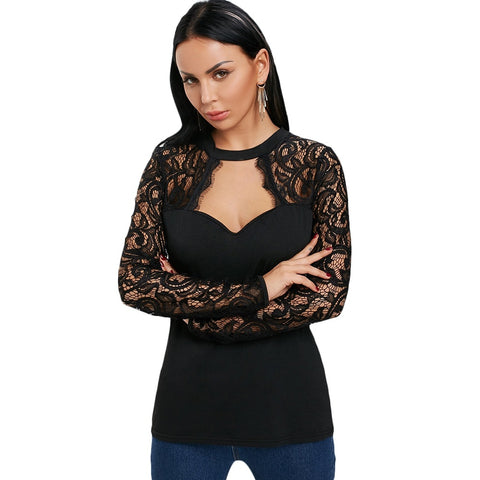 Keyhole Neck Long Sleeve Lace Panel Hollow Out Women T shirt 4640