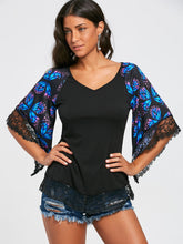 Load image into Gallery viewer, V Neck Butterfly Print Lace Panel Flare Three Quarter Sleeve Women T shirt 3142