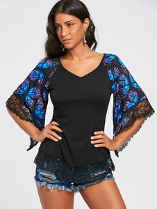 V Neck Butterfly Print Lace Panel Flare Three Quarter Sleeve Women T shirt 3142