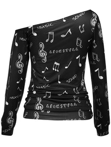 Skew Neck Music Notes Print Long Sleeved Pullovers Sweatshirt Woman 1954