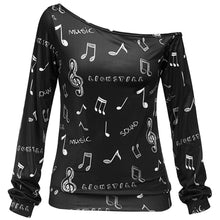 Load image into Gallery viewer, Skew Neck Music Notes Print Long Sleeved Pullovers Sweatshirt Woman 1954